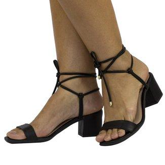 Sandalia Lumiss Salto Grosso Conforto Moda Amarrar Feminina