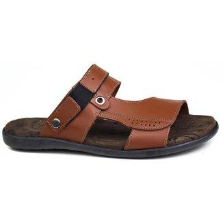 Sandalia masculina ajustável em couro