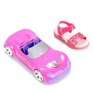 Sandália Papete Infantil Kidy Gloss Coração Feminina + Pink Car