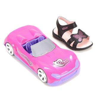 Sandália Papete Infantil Kidy Gloss Feminina + Pink Car