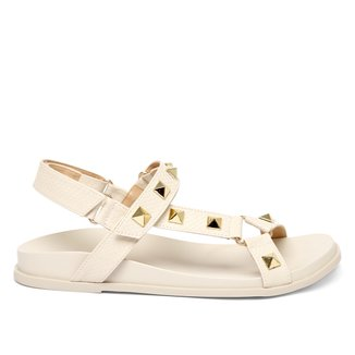 Sandália Papete Shoestock Tiras Rebites Feminina