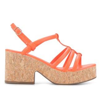 Sandália Plataform Couro Shoestock Soft Feminina