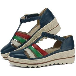 Sandália Plataforma em Couro SapatoFran com Velcro Feminina