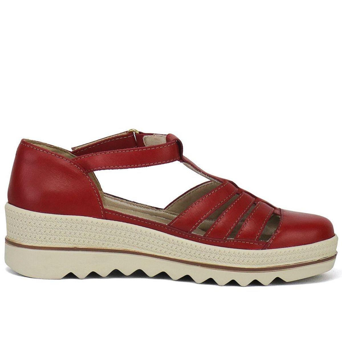 Sandália Plataforma em Couro SapatoFran com Velcro Feminina - Vermelho
