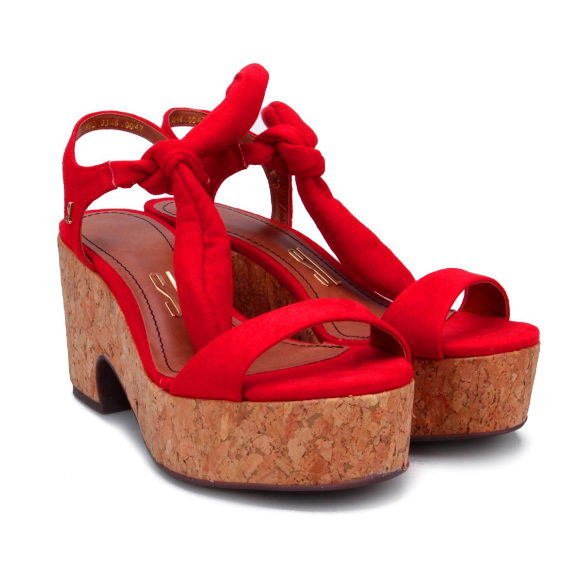 Vermelho Feminina Cortiça Santa Plataforma Sandália Plataforma Amarração Lolla Sandália w08qPyx6C