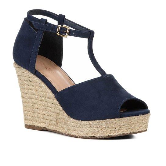 Sandália Plataforma Shoestock Corda Nobuck Feminina - Marinho
