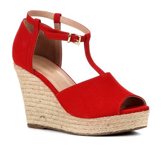 Sandália Plataforma Shoestock Corda Nobuck Feminina - Vermelho