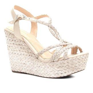 Sandália Plataforma Shoestock Corda Tranças Feminina