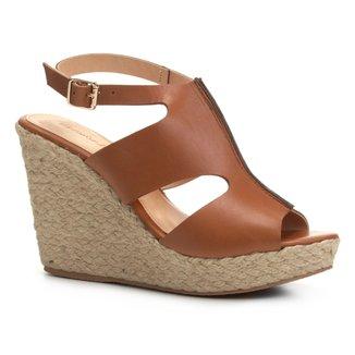 Sandália Plataforma Shoestock Couro A Fio Feminina