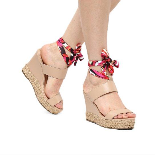 Sandália Plataforma Shoestock Lenço Corda Feminina - Bege