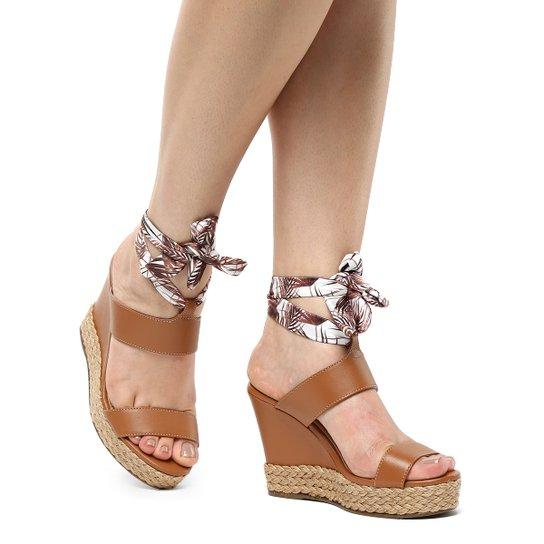 Sandália Plataforma Shoestock Lenço Corda Feminina - Caramelo