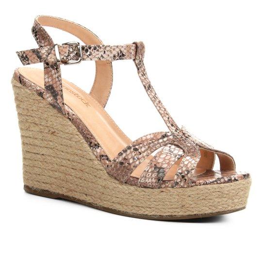 Sandália Plataforma Shoestock Tiras Corda Feminina - Bege