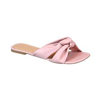 Sandália Rasteira com Tiras em Laço Comfort