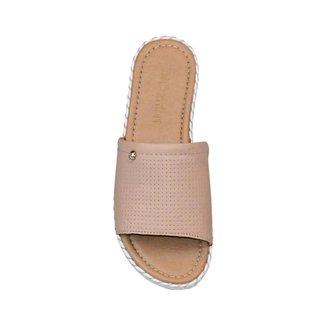 Sandália Rasteira Costura Casual Comfort Creme