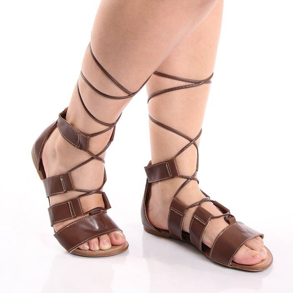 098642e481 Sandalia Rasteira De Amarrar Estilo Gladiadora - Compre Agora