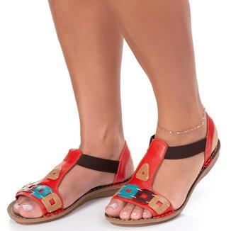 Sandalia Rasteira em Couro Roma Shoes Antiderrapante  Feminina