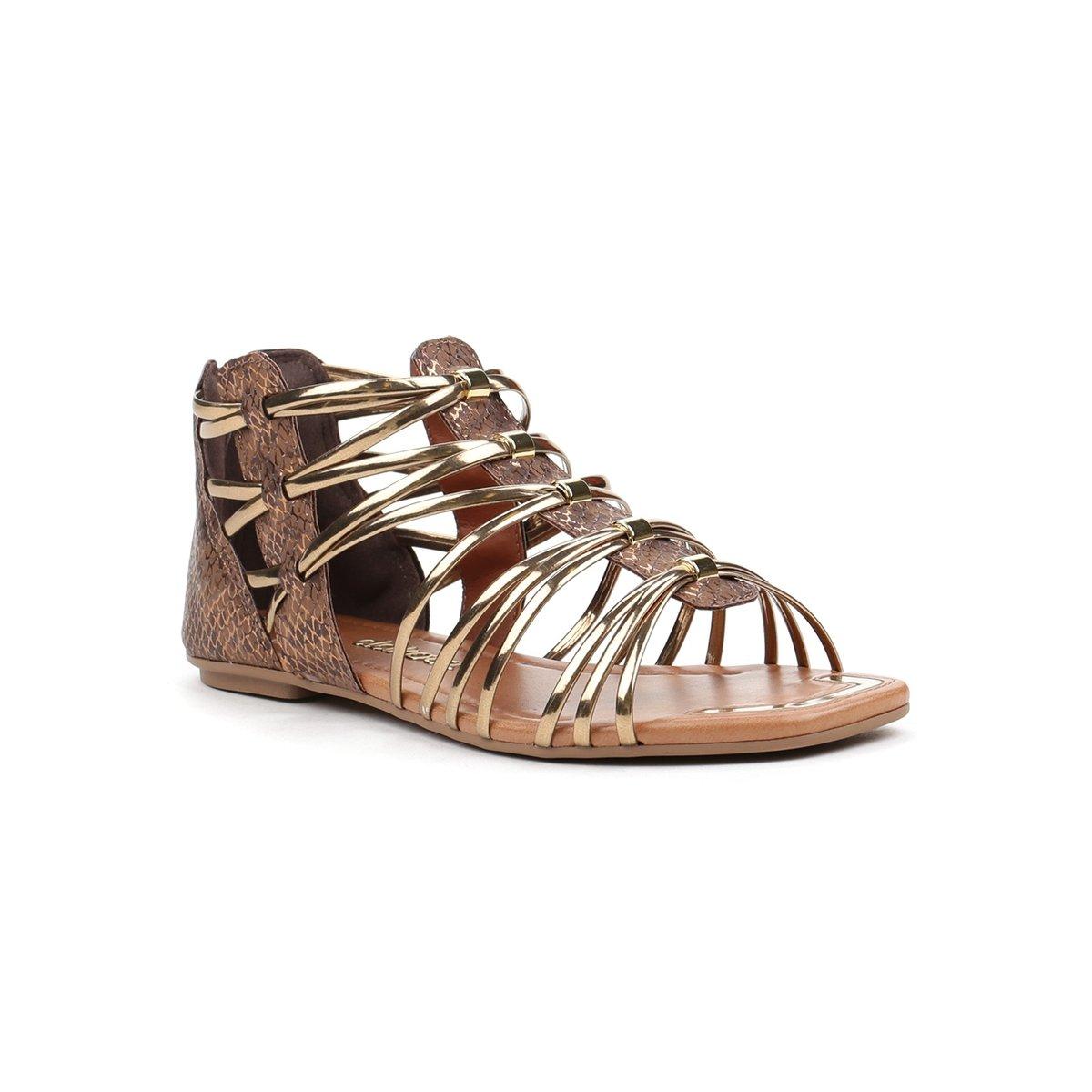 8ff7836bf2 Sandália Rasteira Feminina Dakota Gladiadora Marrom dourado - Compre Agora
