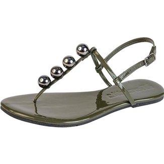 Sandália Rasteira Feminina Mercedita Shoes Verniz Fivela