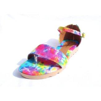 Sandália Rasteira Gomes Shoes Feminina Tie Dye Tratorada