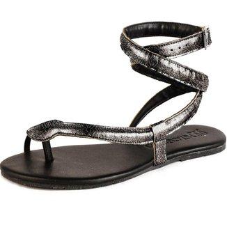 Sandalia Rasteira Mercedita Shoes Cobra Metalizada Conforto