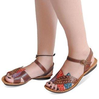 Sandália Rasteira Roma Shoes em Couro Rasteirinha Folhas Anti Derapante