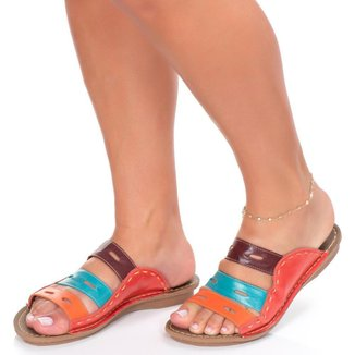 Sandália Rasteira Roma Shoes em Couro  Tamanco Retrô Anti Derrapante Feminina