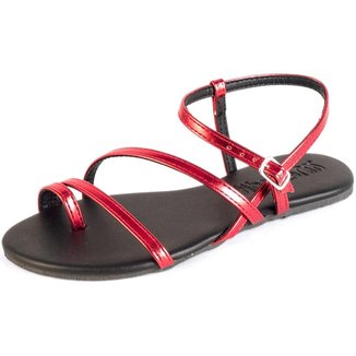 Sandália Rasteira Tiras Metalizada Tropical Fivela Casual Mercedita Shoes Feminina