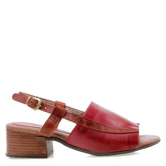 Sandália Salto Baixo Miss Western Leather Red 33