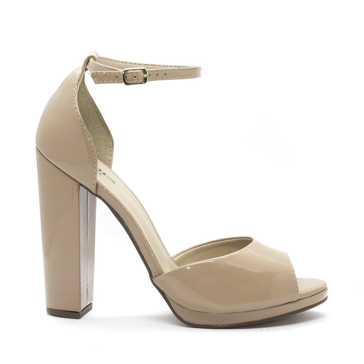 Sandália Salto Inbox Nude Salto traseiro Sandália Bloco Bloco com Shoes 75rq7w