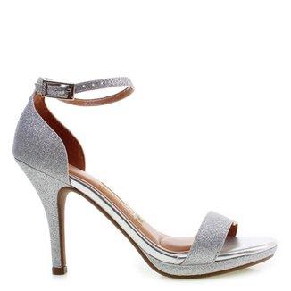 Sandália Salto Médio Vizzano Glitter Silver 39