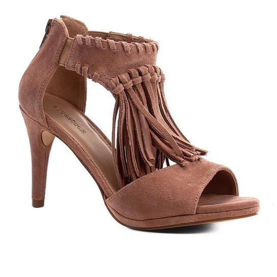 Sandália Shoestock Camurça Franjas Salto Fino Feminina - Marrom