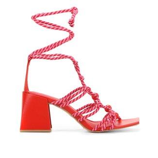 Sandália Shoestock Cordão Salto Alto Feminina