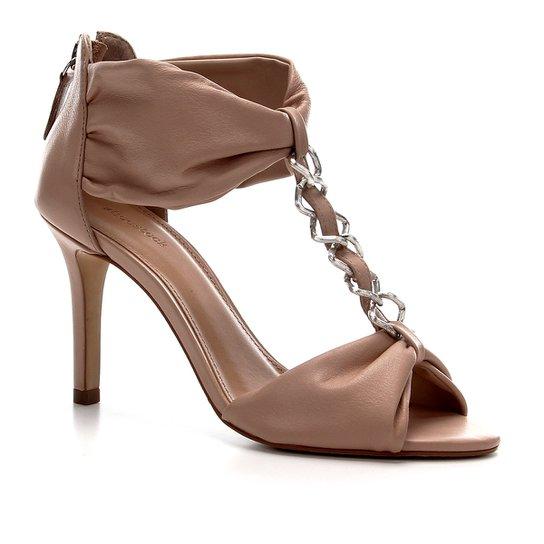 Sandália Shoestock Couro Glam Chain - Nude