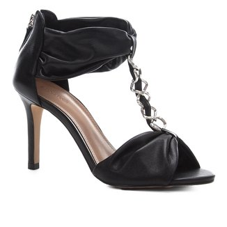 Sandália Shoestock Couro Glam Chain