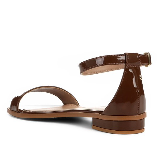Sandália Shoestock Flat Tira Naked Feminina - Avelã