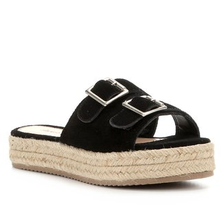 Sandália Shoestock Flatform Camurça Fivelas Feminina