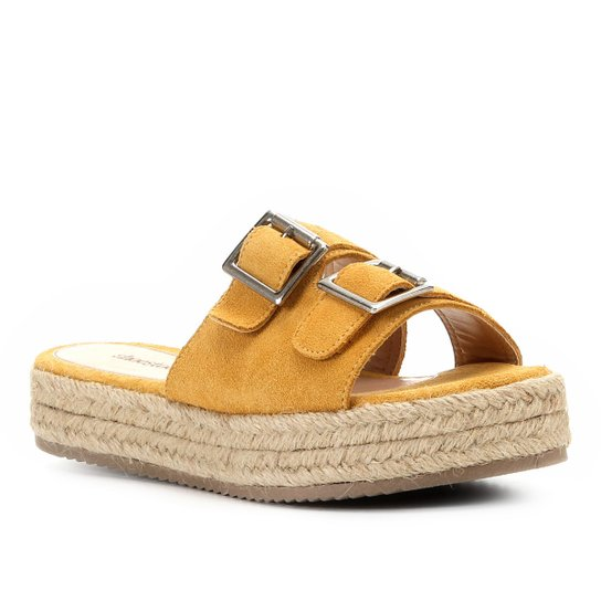 Sandália Shoestock Flatform Camurça Fivelas Feminina - Mostarda