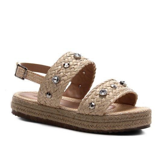 Sandália Shoestock Flatform Trança e Pedras Feminina - Bege