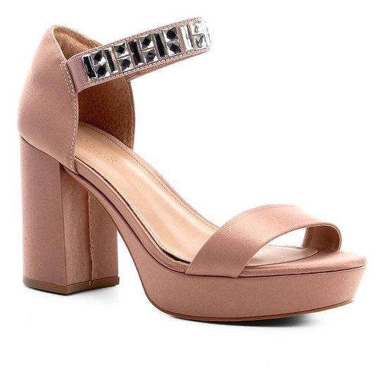 Sandália Shoestock Meia Pata Cetim Pedraria Feminina - Nude