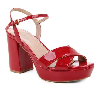 Sandália Shoestock Meia Pata Salto Alto Verniz Feminina