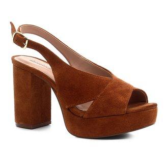 Sandália Shoestock Meia Pata Slingback Camurça Feminina