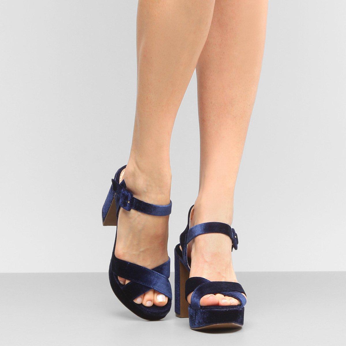 Sandália Shoestock Meia Pata Veludo - Marinho