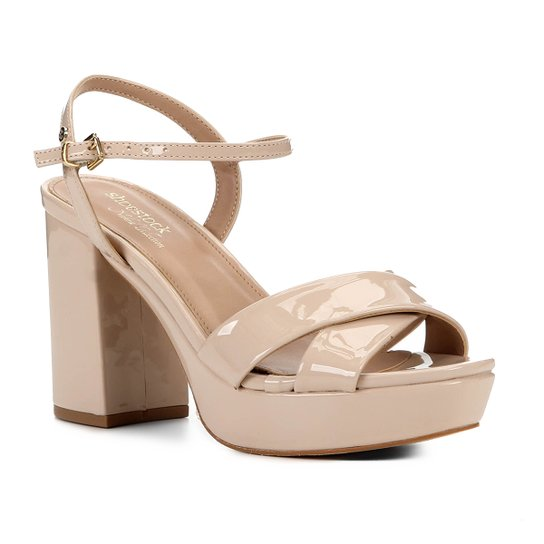 Sandália Shoestock Meia Pata Verniz Naked Feminina - Macadamia
