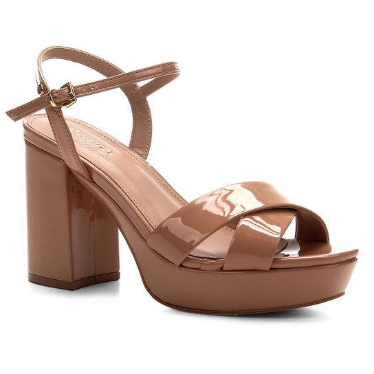 Sandália Shoestock Meia Pata Verniz Naked Feminina - Noz