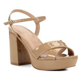 Sandália Shoestock Meia Pata Verniz Naked Feminina