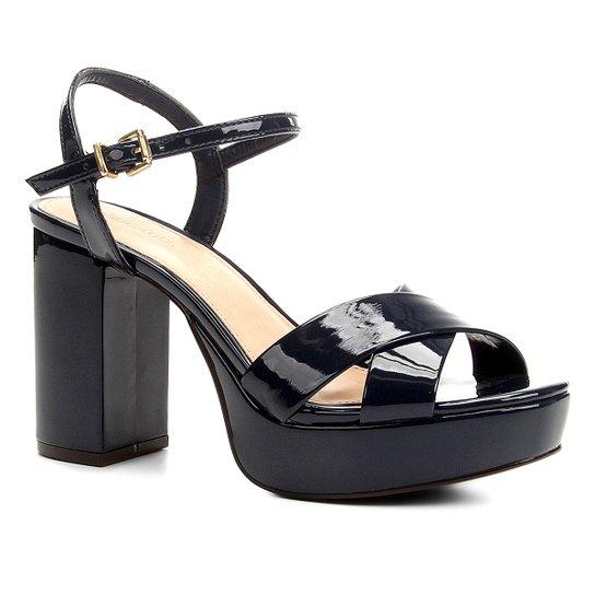Sandália Shoestock Meia Pata Verniz - Marinho