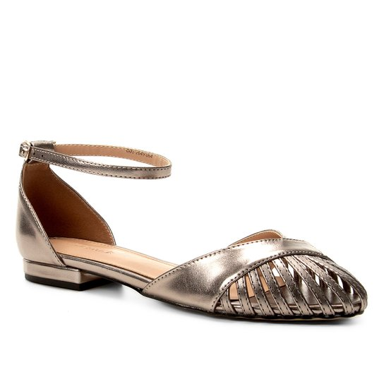 Sandália Shoestock Metalizada Feminina - Prata