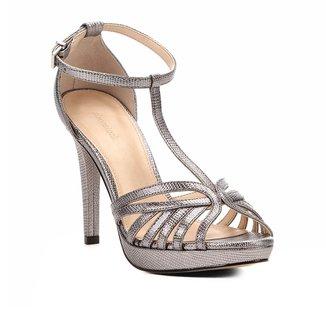 Sandália Shoestock Metalizada Meia Pata Tirinhas Feminina