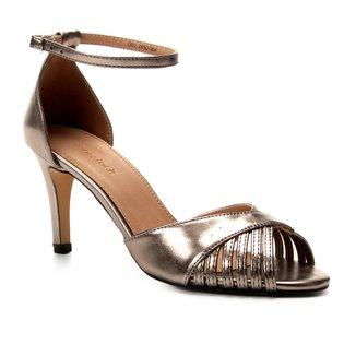 Sandália Shoestock Metalizada Salto Fino Feminina