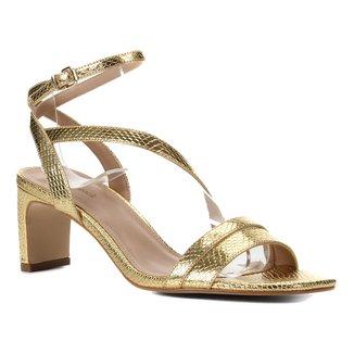 Sandália Shoestock Metalizada Salto Médio Feminina